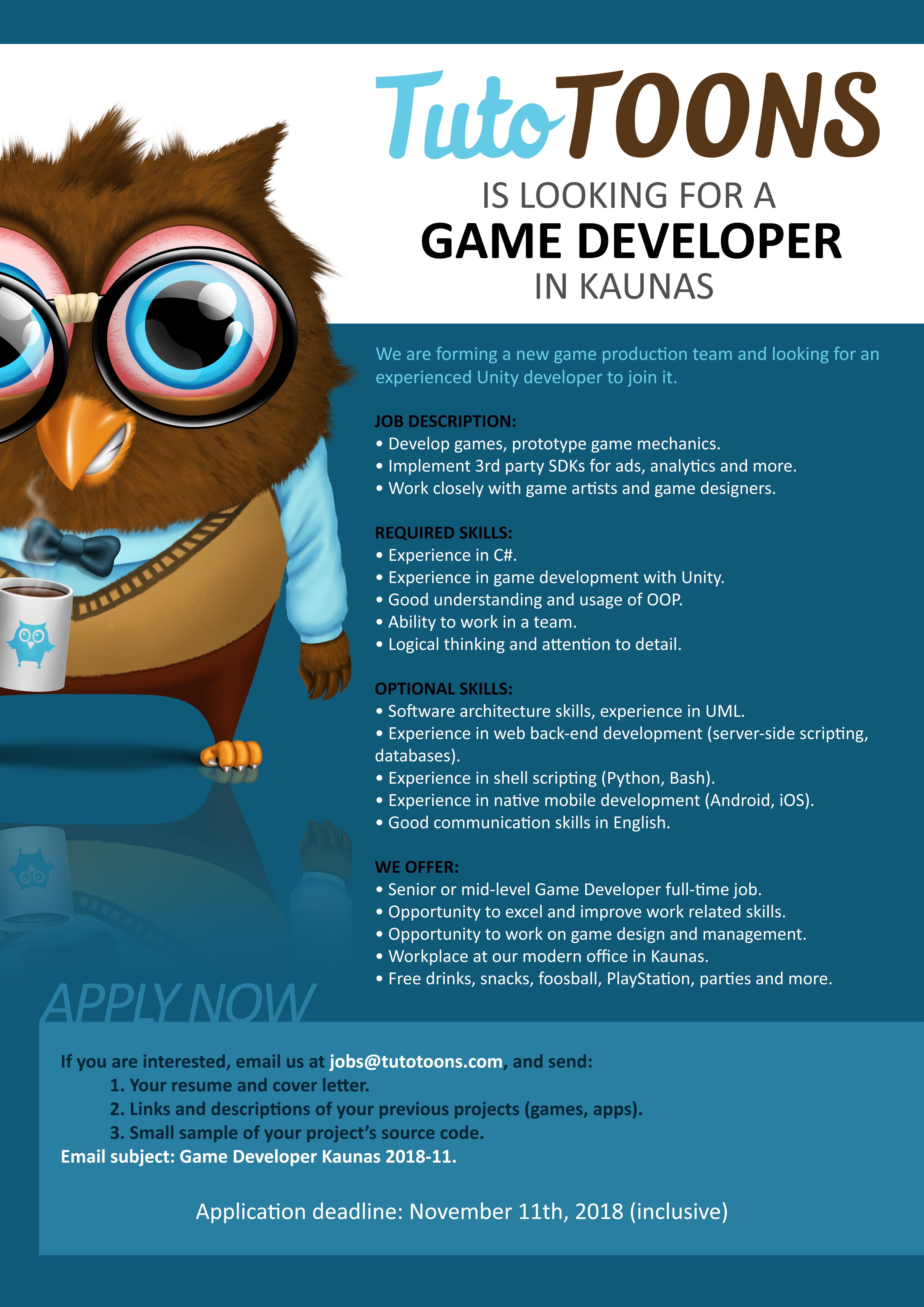CLOSED] TutoTOONS Is Looking for a Game Developer! | TutoTOONS Blog