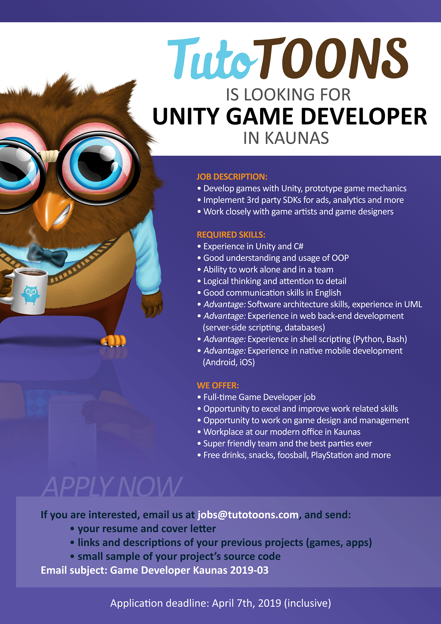 CLOSED] TutoTOONS Is Looking for a Unity Game Developer in Kaunas