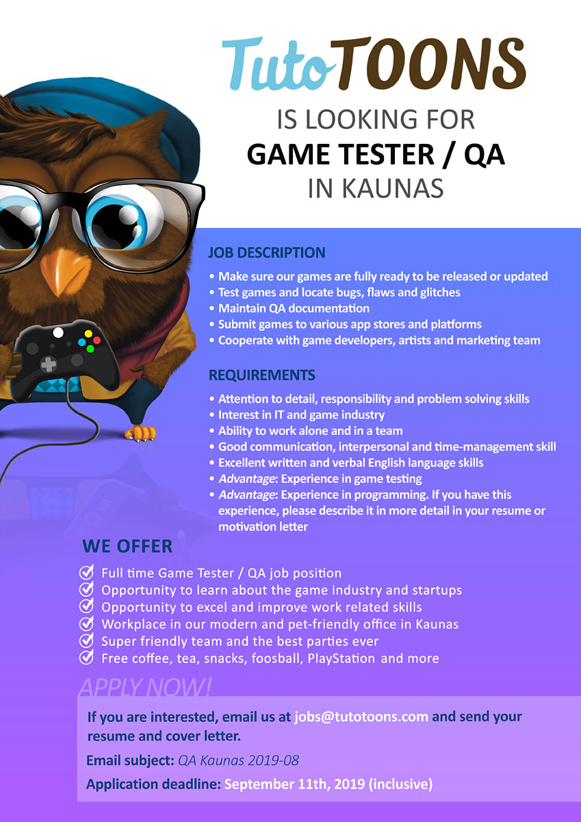 CLOSED] TutoTOONS Is Looking for a Game Tester / QA in ...